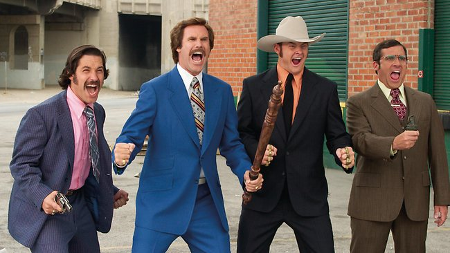 Paul Rudd, Will Ferrell, David Koechner & Steve Carell in 2004 film Anchorman: The Legend of Ron Burgundy. Picture: Supplied