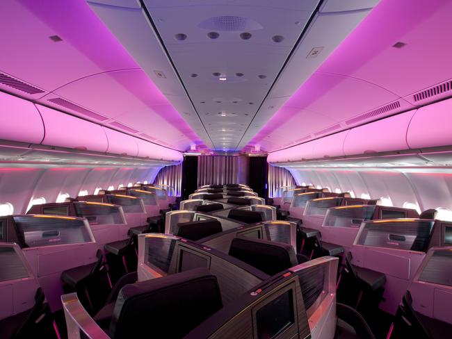 What the inside of a Virgin Atlantic plane looks like these days. Pictured is Upper Class.