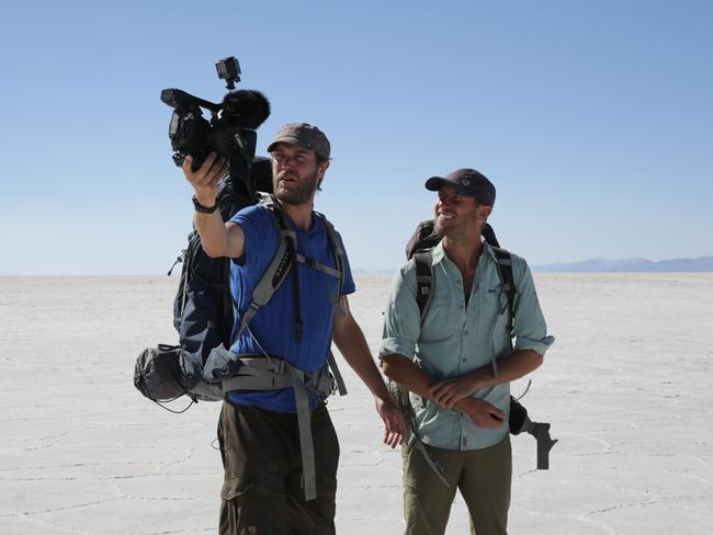 Greenfield and Levelle filming at the Salt Flats in Bolivia. Picture: Discovery Channel