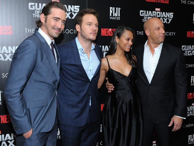 Actors Lee Pace, Chris Pratt, Zoe Saldana and Vin Diesel hit the red carpet in New York. Picture: Getty