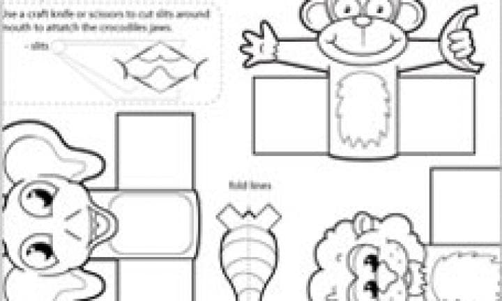Jungle finger puppet template