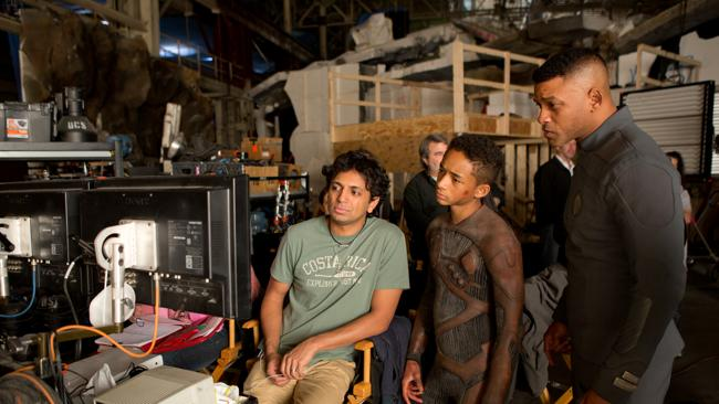 M. Night Shyamalan, Jaden Smith and Will Smith on the set. Picture: Sony Pictures