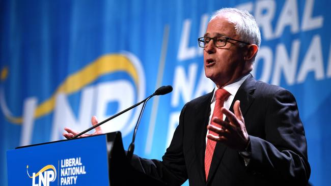 Australian Prime Minister Malcolm Turnbull speaks at the Liberal National Party state conference in Brisbane on July 15. (Pic: AAP Image/Dan Peled)