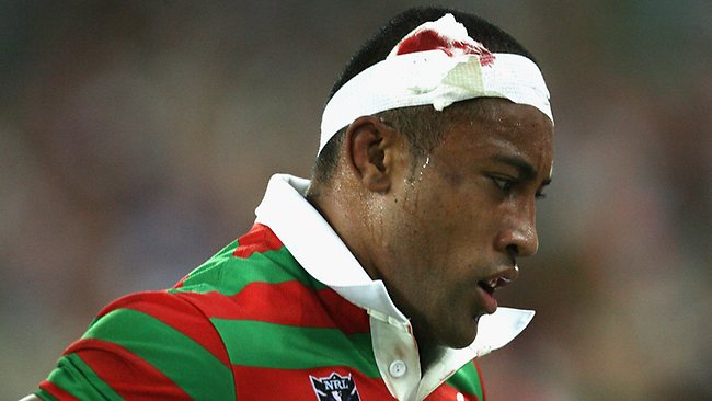 Roy Asotasi of the Rabbitohs comes off after having his head bandaged during a head clash. Picture: Getty