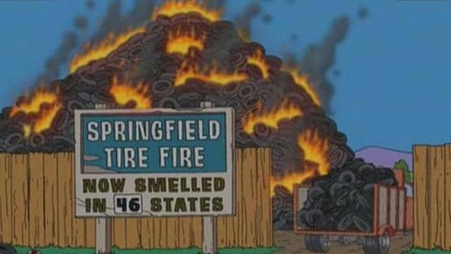 The pile of burning tyres in The Simpsons