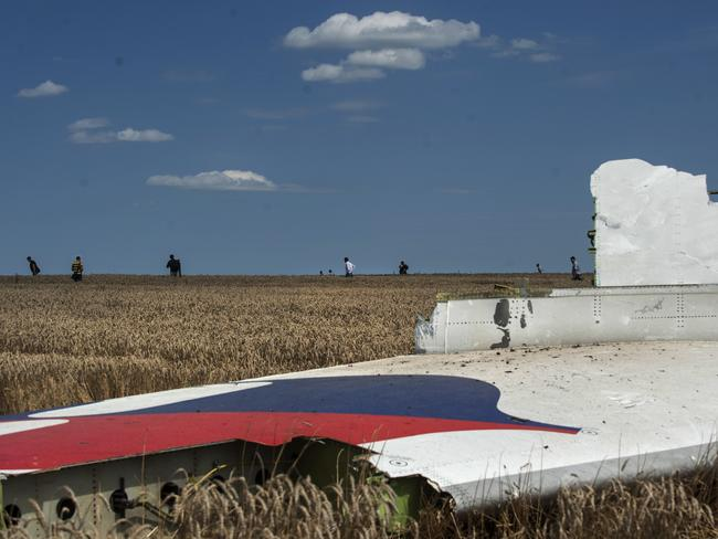 A piece of the crashed Malaysia Airlines Flight 17 lies in the grass near the village of Hrabove, eastern Ukraine, Sunday, July 20, 2014. Pic: AP Evgeniy Maloletka.