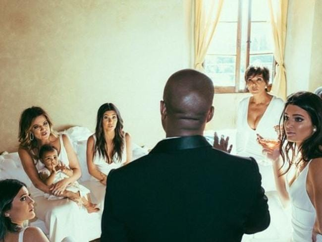 But a dream ... West shares his thoughts with the Kardashian women after his wedding to Kim.