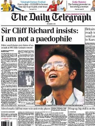 Front page news ... The allegations levelled against Sir Cliff Richard.