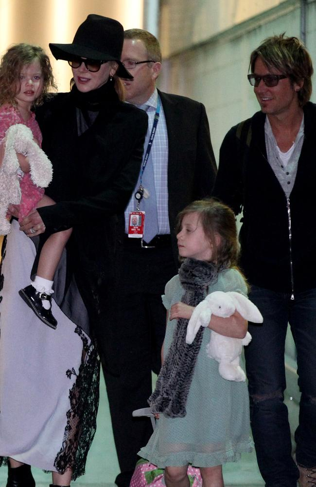 Nicole Kidman in Sydney with Keith and the kids arrive through the loading dock early today