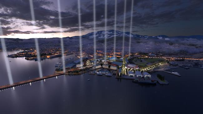 Hobart's waterfront would be home to the nation's first cultural area acknowledging Australia's history of colonial warfare under a plan to be unveiled by MONA.