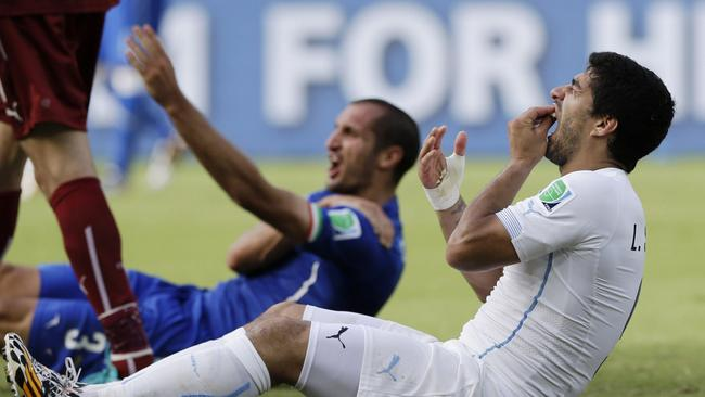 The infamous Luis Suarez biting incident against Italy.