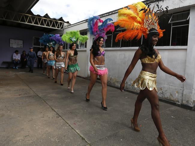 Inmates strut their stuff in the prison yard for the annual beauty pageant. Picture: Supplied.