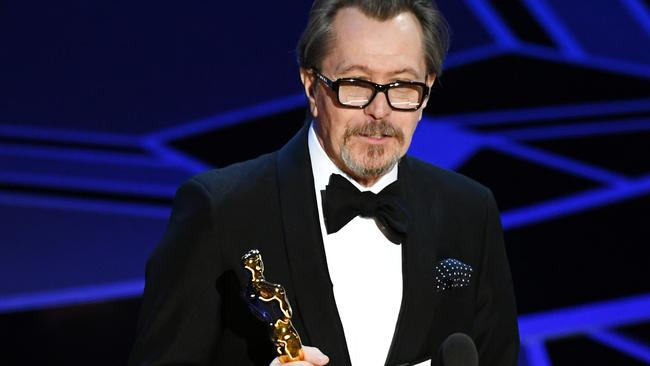Actor Gary Oldman accepts Best Actor for 'Darkest Hour' onstage during the 90th Annual Academy Awards. Picture: by Kevin Winter/Getty Images.