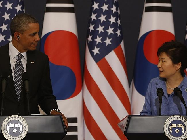Timing ... US President Barack Obama and South Korean President Geun-hye Park during a press conference in Seoul.