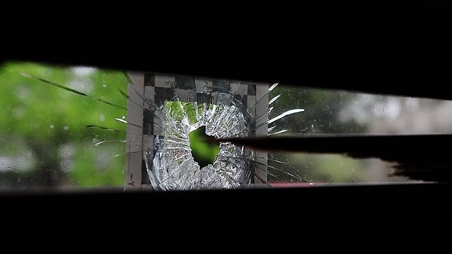 A bullet hole at the Lilydale house. Picture: Derrick Den Hollander