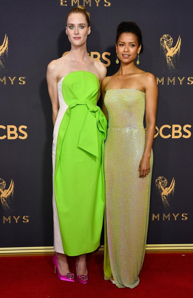 Mackenzie Davis and Gugu Mbatha-Raw attend the 69th Annual Primetime Emmy Awards at Microsoft Theater on September 17, 2017 in Los Angeles. Picture: Getty
