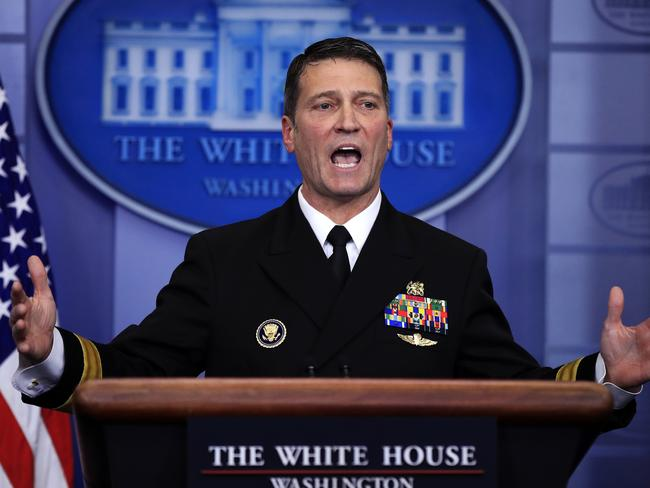 """White House physician Dr. Ronny Jackson told reporters that Donald Trump was in """"excellent health"""". Picture: AP/Manuel Balce Ceneta"""