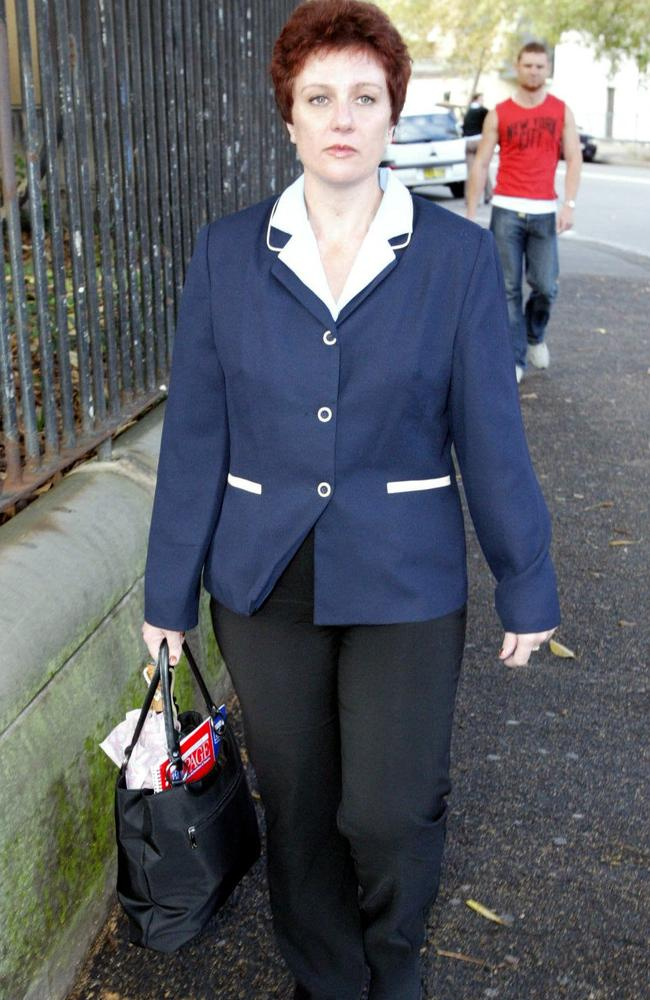 In jail Folbigg's now greying dark hair has returned to this tight-curled style she wore during her 2003 trial. Picture: Nathan Edwards