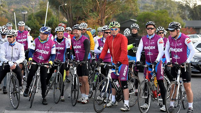 "Tony Abbott was in Geelong at the end of the 1000 km ""pollie pedal"" charity bike ride. Picture: Jay Town"