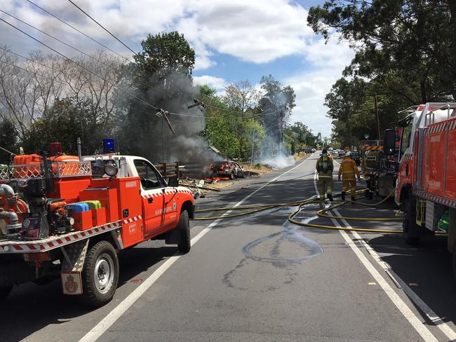 Firefighters at the scene after the car exploded. Picture: NSW Ambulance.