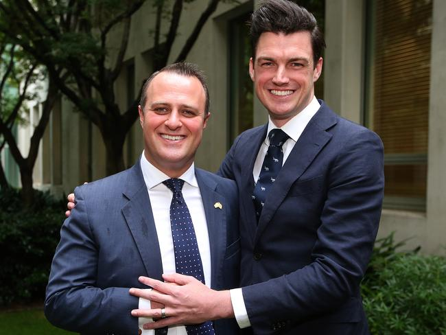 Liberal MP Tim Wilson proposed to his partner Ryan Bolger during a speech on the Marriage Amendment Bill 2017 at Parliament House in Canberra. Picture: Kym Smith