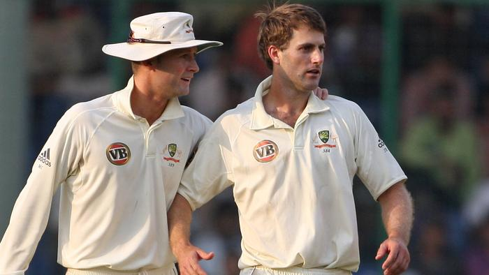 29/10/2008. India v Australia. Simon Katich is restrained by Michael Clarke after he and Gautam Gambhir exchanged heated words with umpire Billy Bowden about to step in during the first day of the third test at the Feroz Shah Kotla Stadium in Delhi.