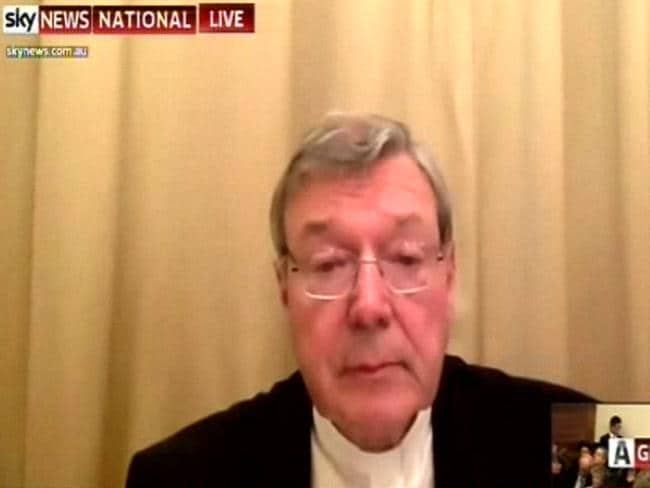 Cardinal George Pell appears via video link from the Vatican in the Commission into child abuse