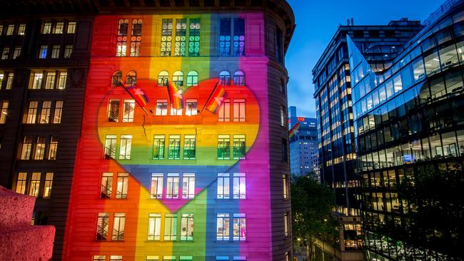The Atlassian building in Sydney is to be lit up in rainbow colours to show the company's support of a Yes vote in the SSM survey.