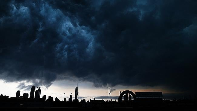 Storm clouds roll in over the Gold Coast skyline. Picture: Adam Head