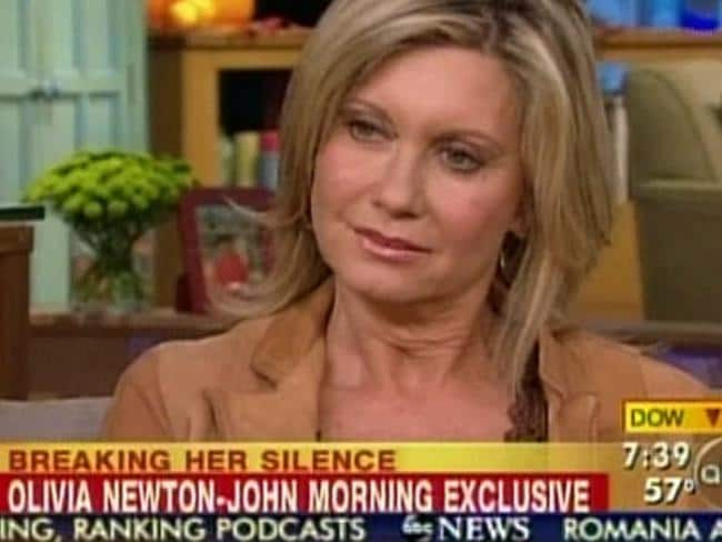 Tough times ... Singer Olivia Newton-John appeared on American television discussing breast cancer and the disappearance of her boyfriend Patrick McDermott. Picture: Supplied