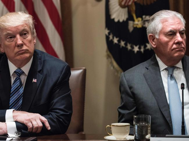 US President Donald Trump (L) and US Secretary of State Rex Tillerson. Picture: AFP