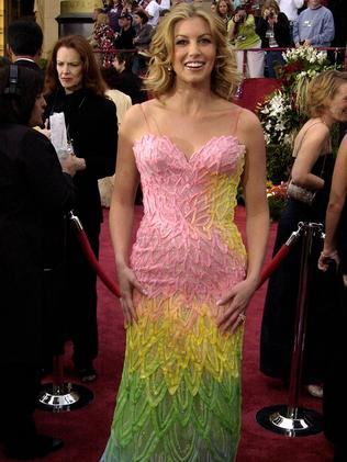 Faith Hill in her 2002 Oscars rainbow dress. Picture: SGranitz/WireImage