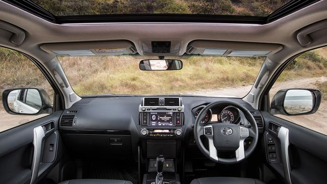 The cabin and sunroof are up-market but this and other Toyotas sorely need a digital speed display. Picture: Supplied.
