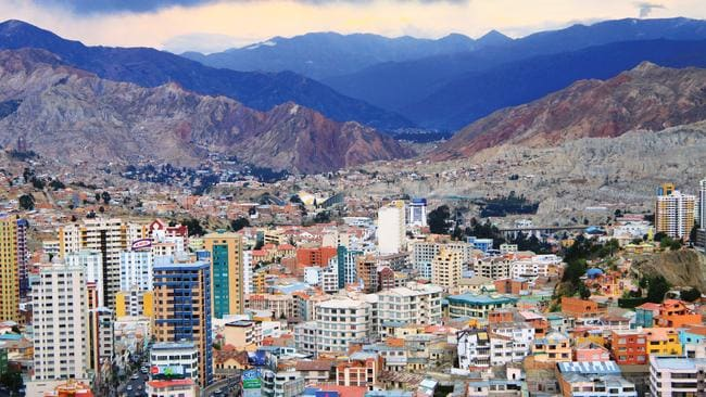 The city of La Paz in Bolivia.