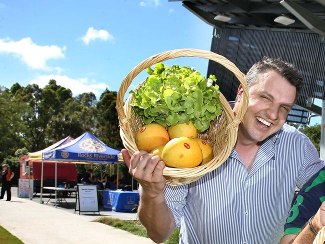 The high profile chef in a promotional shot for a park upgrade in Brisbane's north. Picture: Patria Jannides