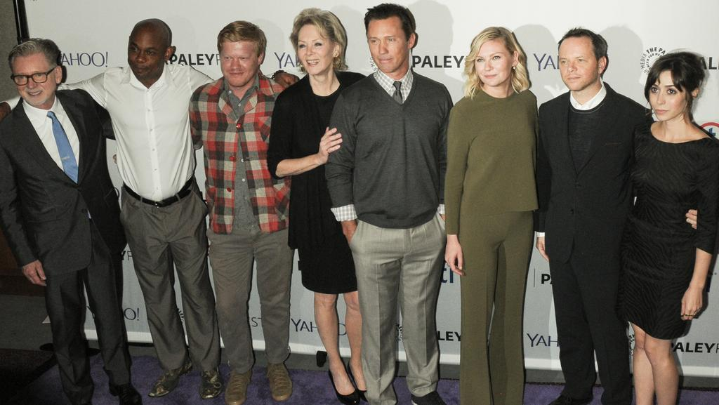 Kirsten Dunst is rumoured to be engaged to her Fargo co-star, Jesse Plemons (third from left). Picture: Splash