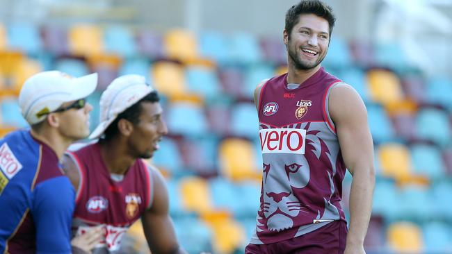 Stefan Martin and Archie Smith at Brisbane Lions training. Picture: Jono Searle.