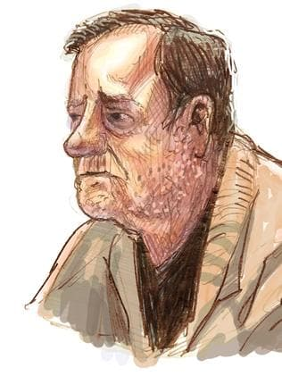 Gregory Keith Davies, 73, accused killer of Kylie Maybury in out of sessions hearing. Sketch by Mitchell Toy