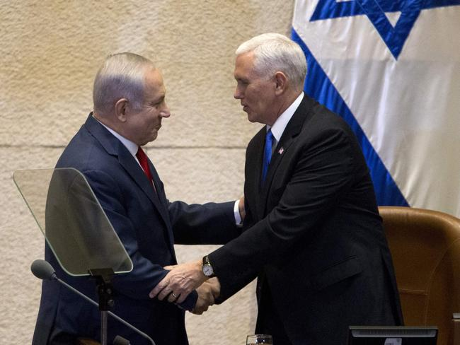 US Vice President Mike Pence shakes hands with Israeli Prime Minister Benjamin Netanyahu. Picture: AFP/Ariel Schalit