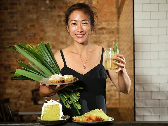 Palisa Anderson, co owner of Boon Cafe in Haymarket, with pandan desserts. Picture: Richard Dobson