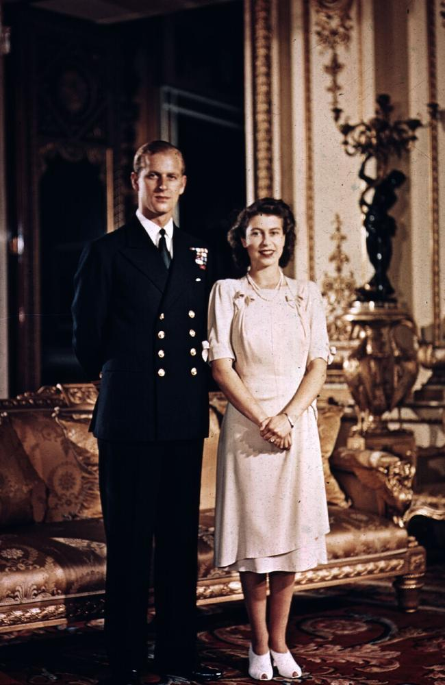Prince Philip and the Queen at Buckingham Palace, shortly before their wedding in 1947. Picture: Getty Images