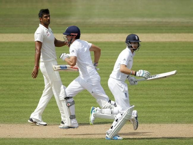 England captain Alastair Cook, centre, and Joe Root, right, run past the luckless Test debutant.