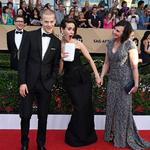 Lucas Hedges and Sarah Paulson and Marcia Clark attend The 23rd Annual Screen Actors Guild Awards at The Shrine Auditorium on January 29, 2017 in Los Angeles, California. Picture: Getty
