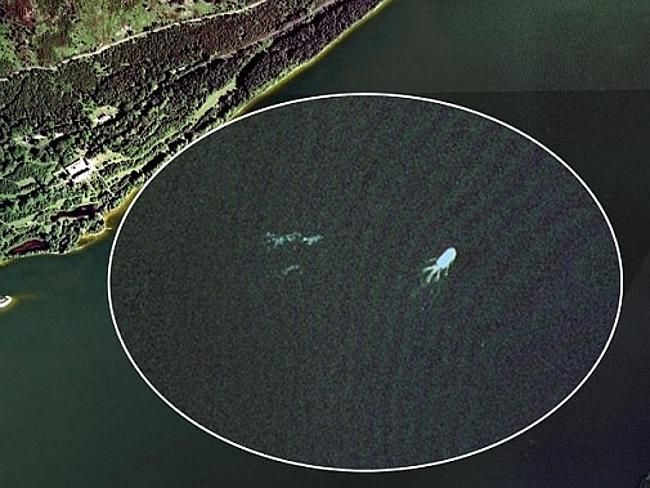 Something in the water ... the 2009 aerial image from Google Earth showing what appears t