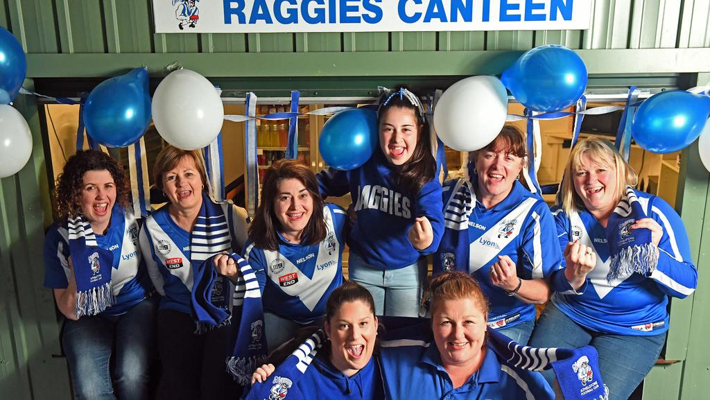 Raggies canteen team (back) Rachel Lorenz, Heather Hughes, Lily Young, Olivia Young, Caroline Rander, Shirley Skinner. (Front) Justine Brown and Nharelle Norsworthy, ready to cheer on the Athelstone Football Club in the A grade Grand Final this Saturday. Picture: Tom Huntley