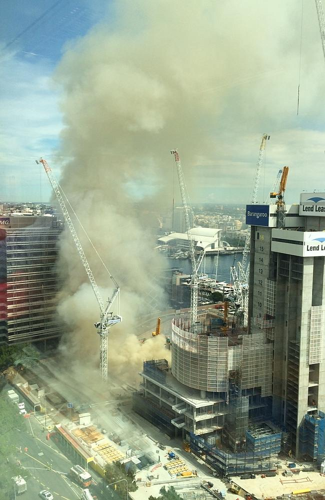 Daily Telegraph reader Damian Zumbo sent in this picture of the smoke billowing from below the construction site.