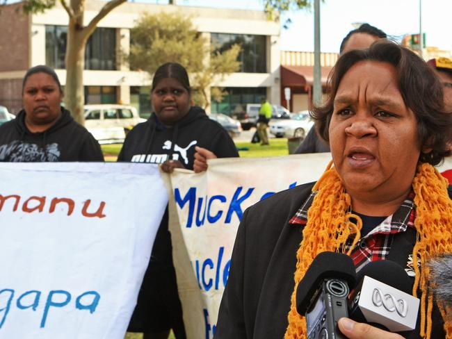 Protecting their land ... traditional owner, Barb Shaw, at the rally in Alice Springs after the announcement that the planned radioactive waste dump on Muckaty Station had been abandoned. Picture: Phil Williams