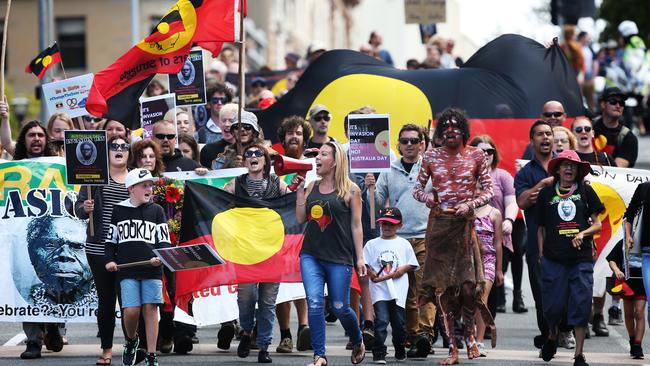 An 'Invasion Day' march in Hobart on Australia Day. Picture: Nikki Davis-Jones