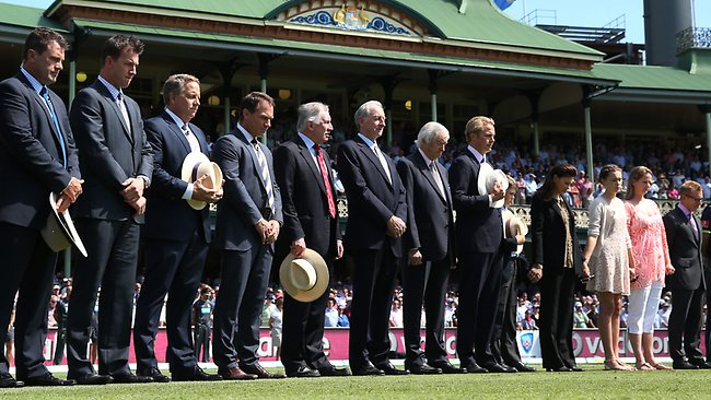 The Channel Nine commentary team and Tony Grieg's family during a minutes silence prior to the first day of play at the SCG. Picture: Phil Hillyard