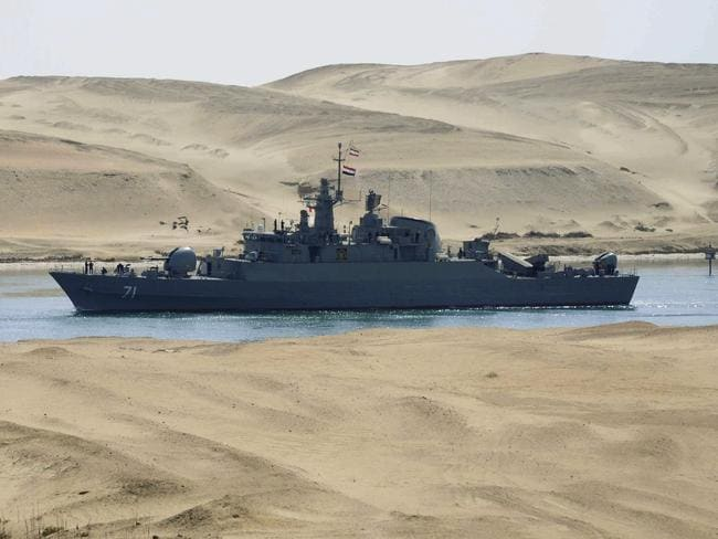 An Iranian navy frigate IS Alvand passes through the Suez Canal at Ismailia, Egypt - the same place where the Jie Shun was seized. Picture: AP